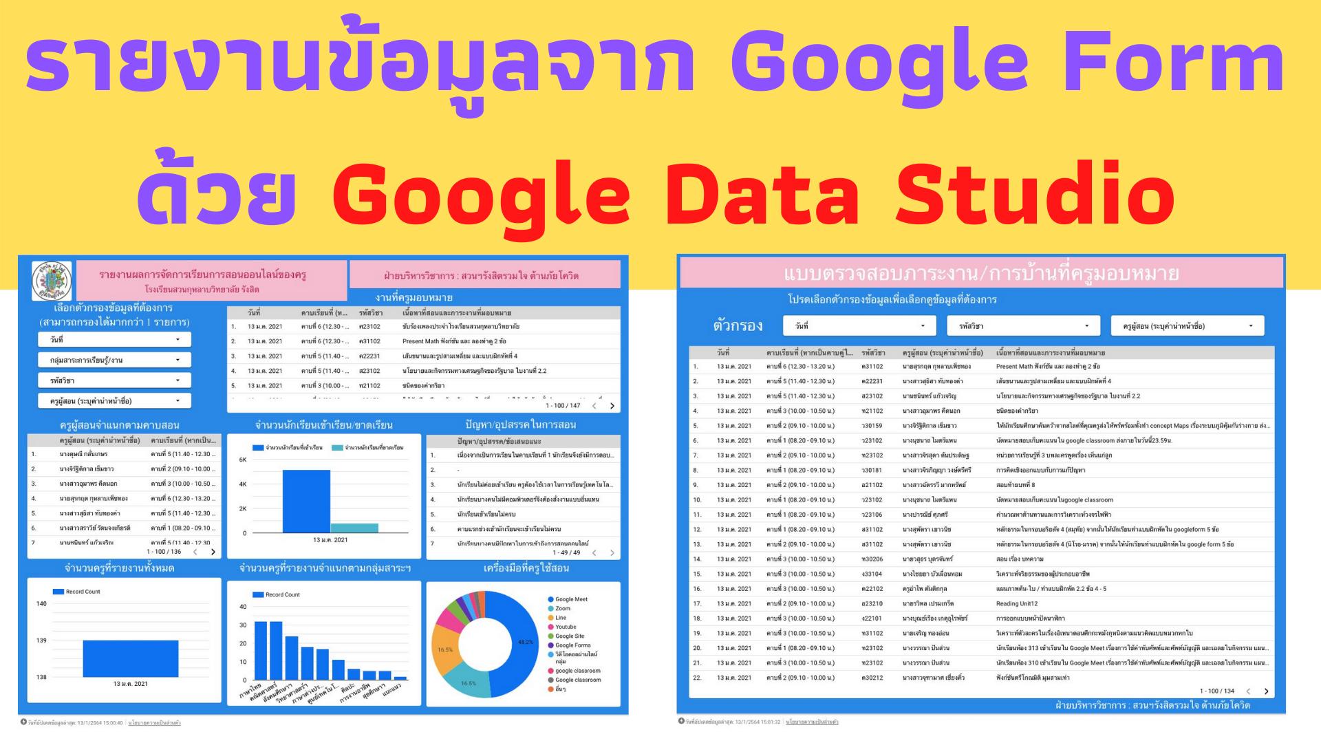 การใช้งาน Google Data Studio รายงานข้อมูลจาก Spread Sheet / Google Form